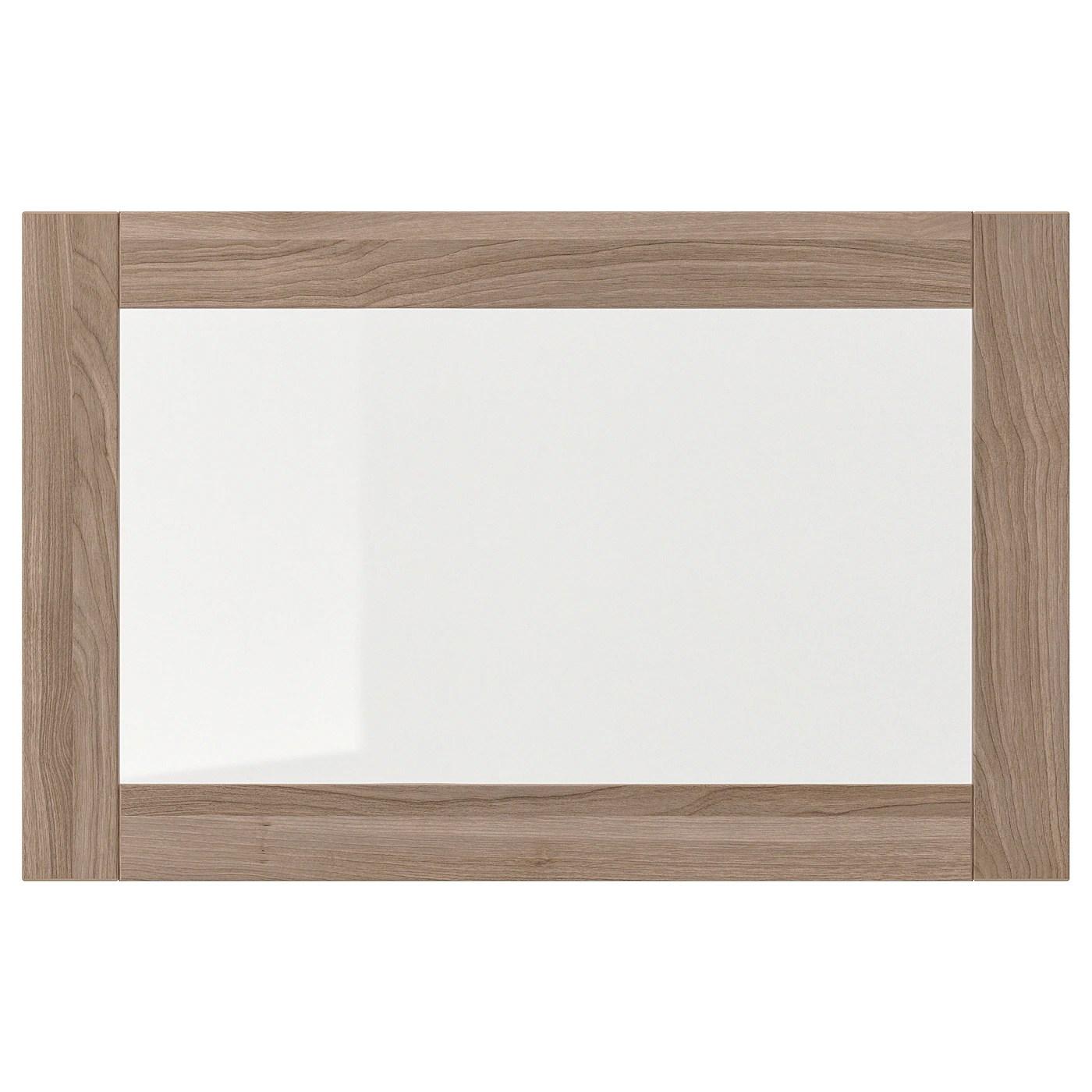 sindvik porte vitree motif noyer teinte gris verre transparent 60x38 cm