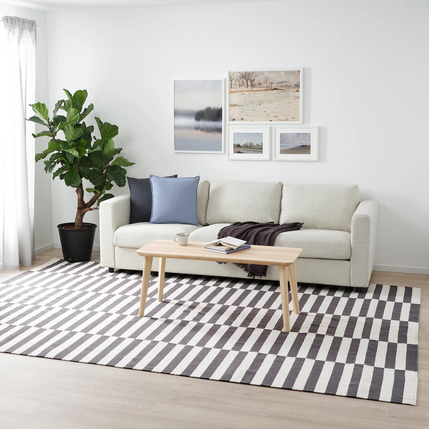 stockholm 2017 tapis tisse a plat fait main raye gris 250x350 cm