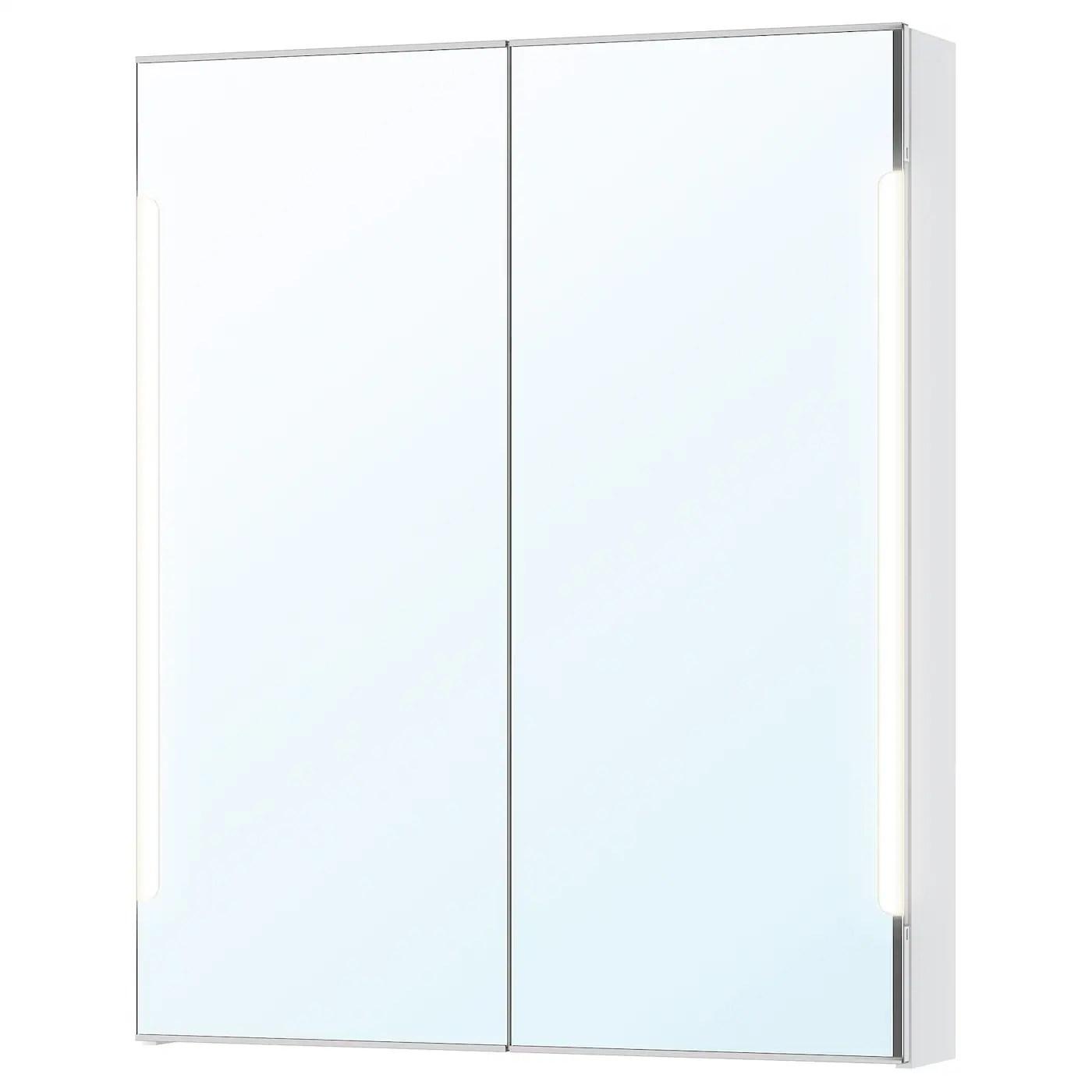 Storjorm Element Miroir 2ptes Eclairage Int Blanc 80x14x96 Cm Ikea