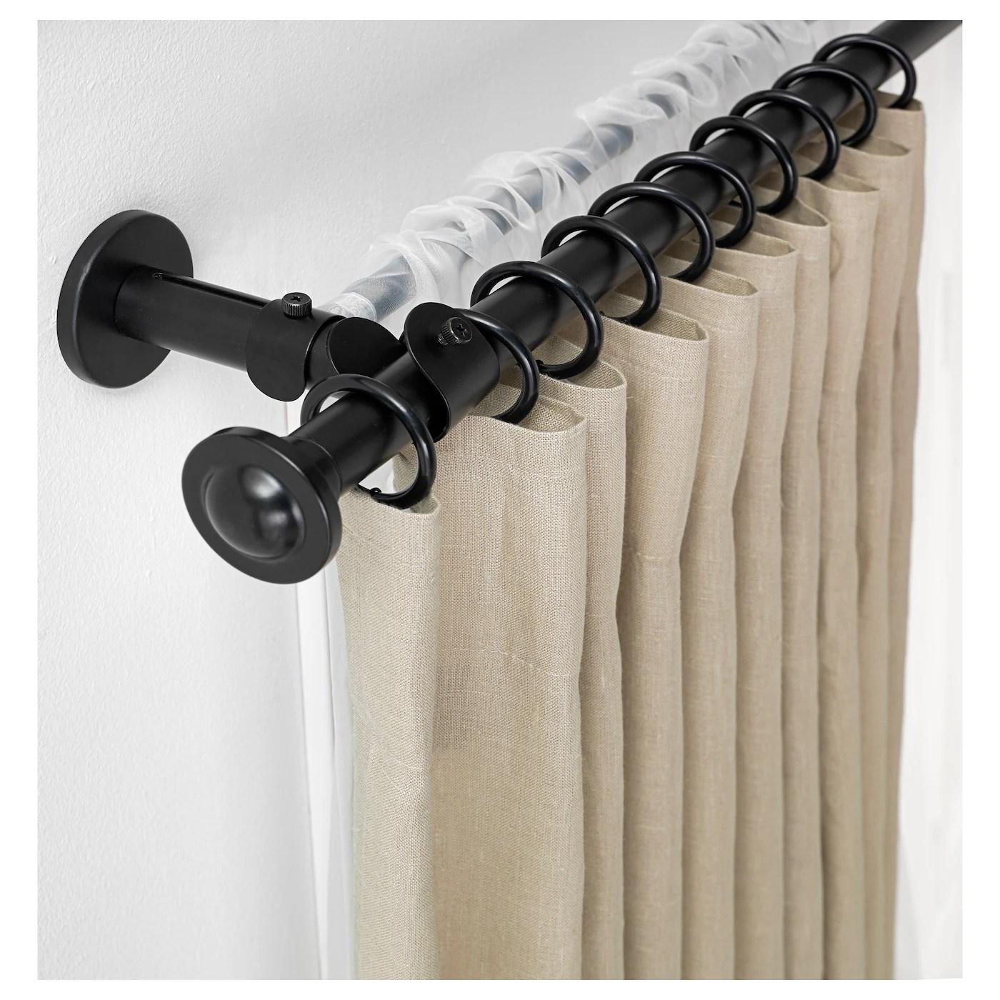 storslagen set tringle a rideaux double noir 120 210 cm
