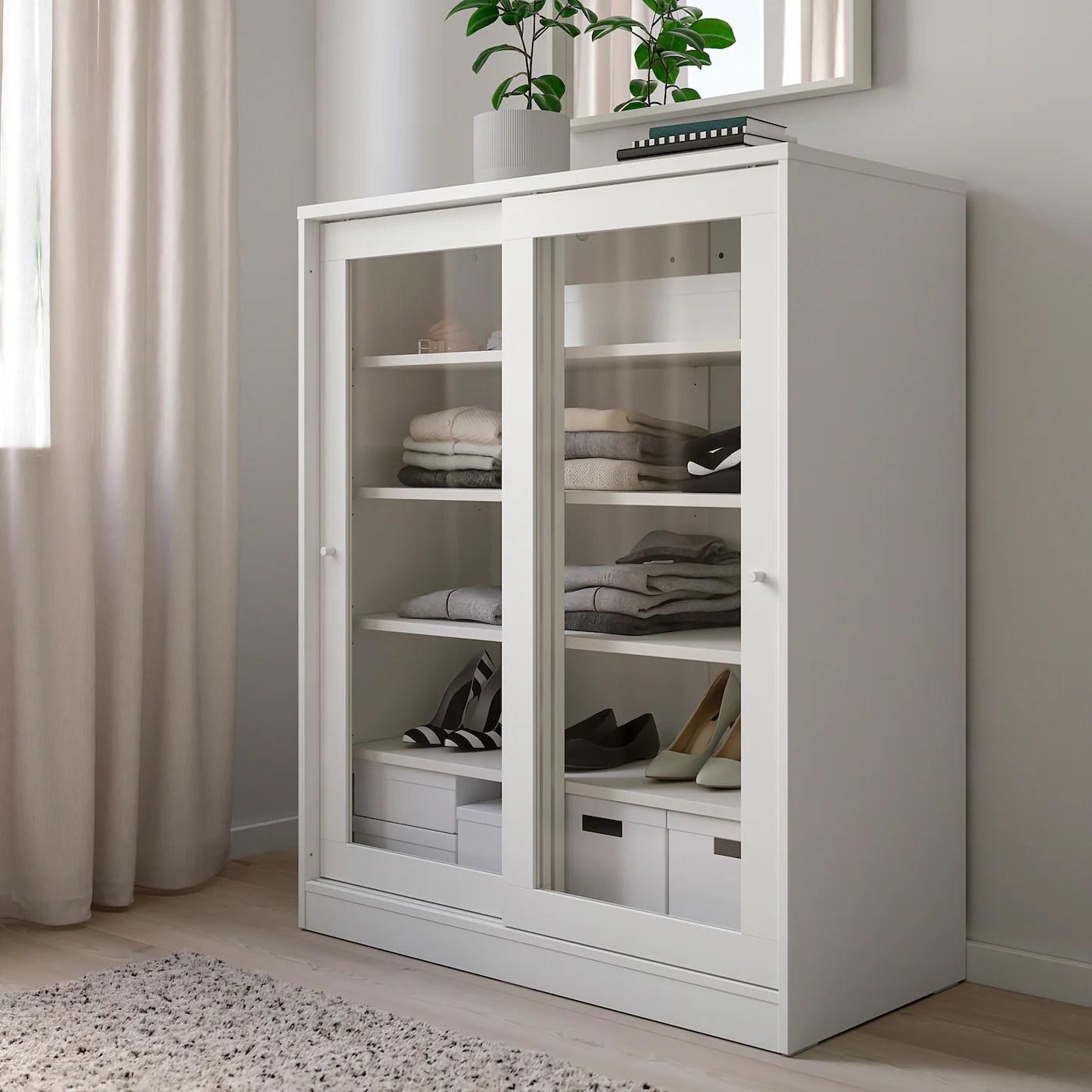 syvde rangement avec portes en verre blanc 100x123 cm