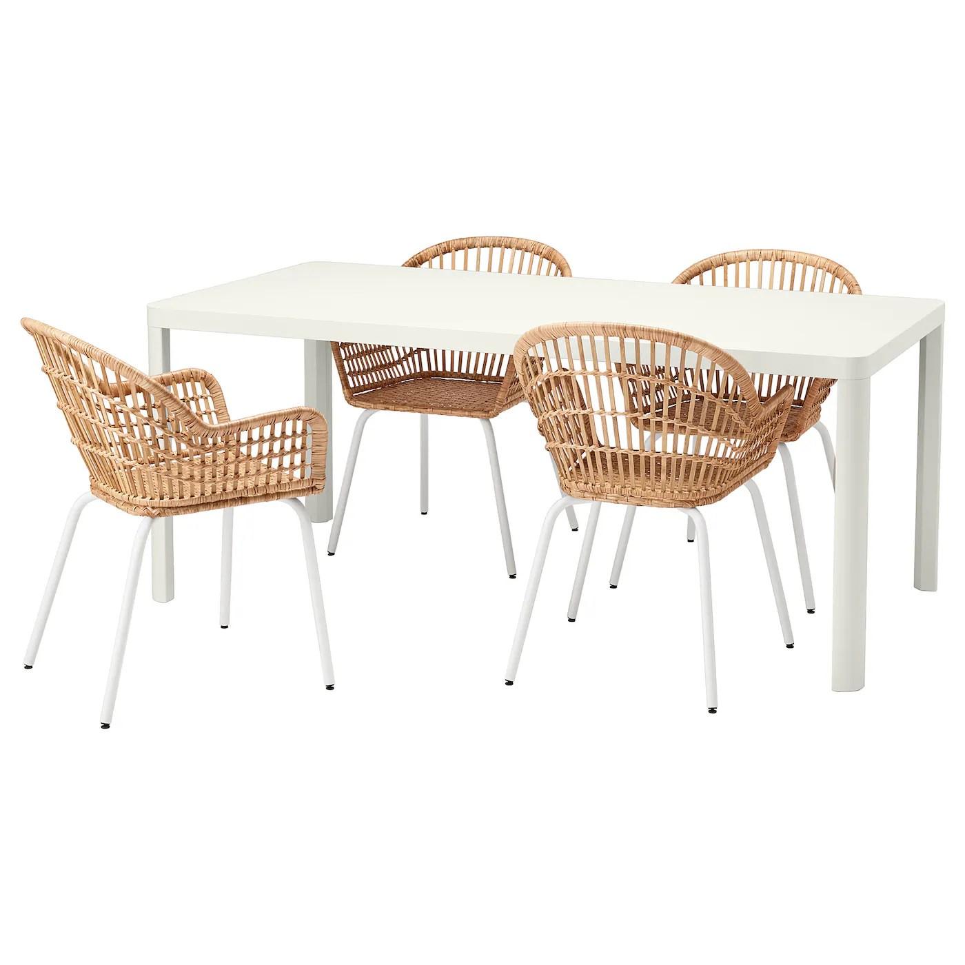 tingby nilsove table et 4 chaises blanc rotin blanc 180x90 cm
