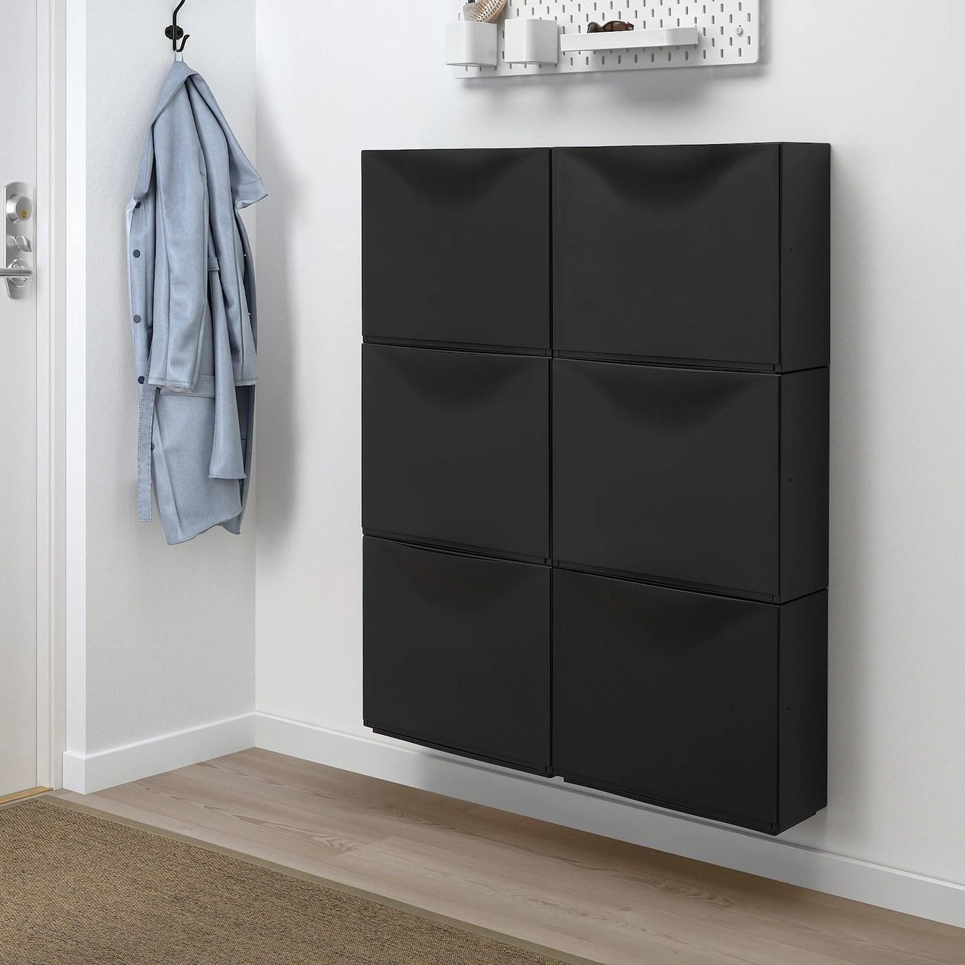 trones armoire a chaussures rangement noir 52x39 cm
