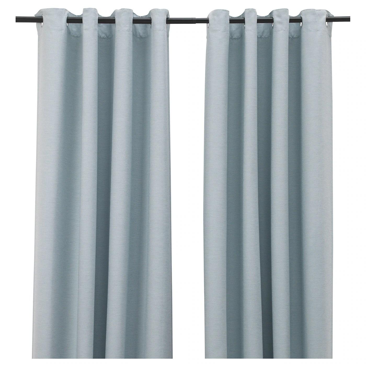 vilborg rideaux 2 pieces blanc turquoise avec oeillets 145x300 cm