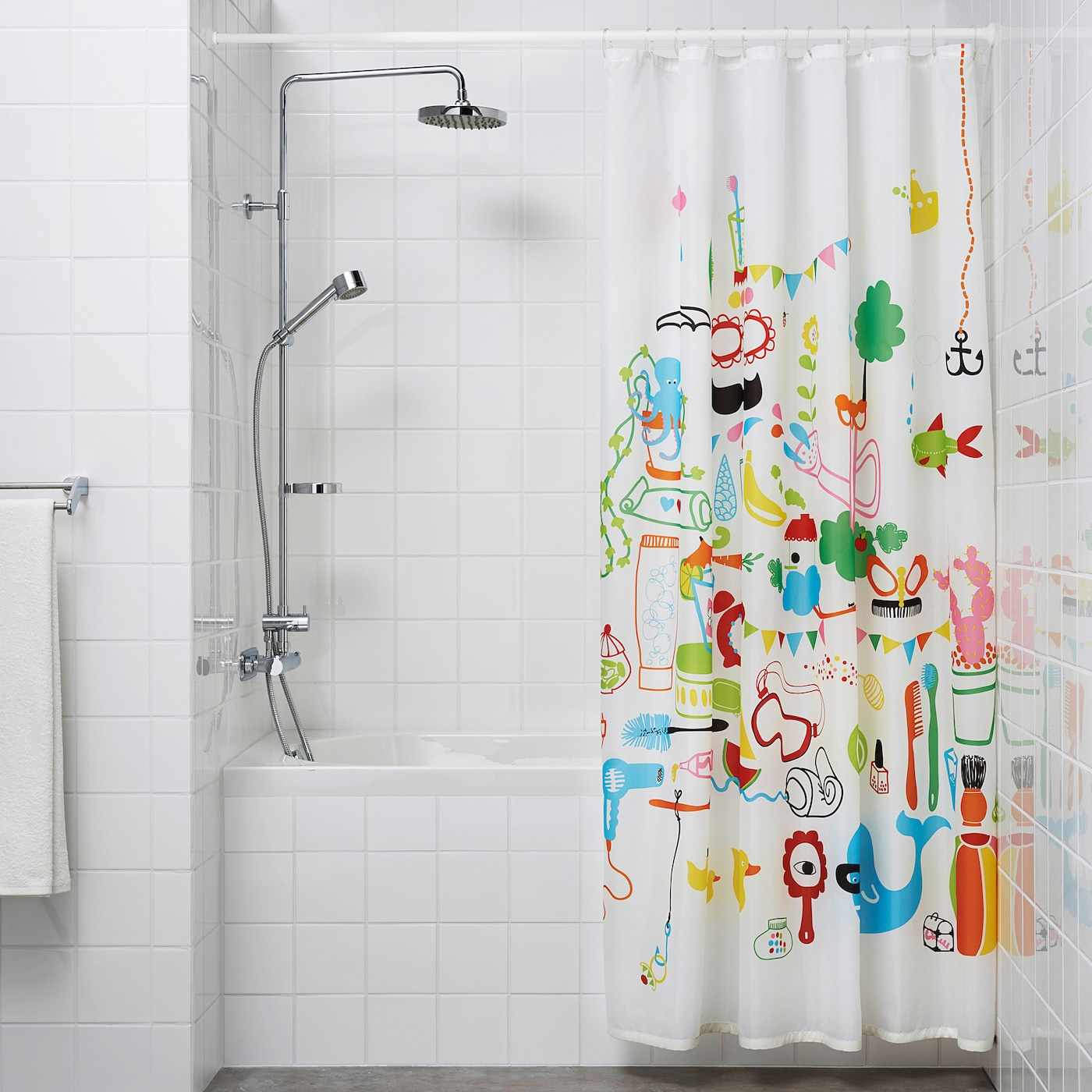 botaren shower curtain rod white 120 200 cm