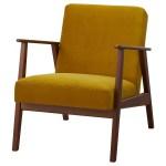Ekenaset Armchair Velvet Yellow Ikea