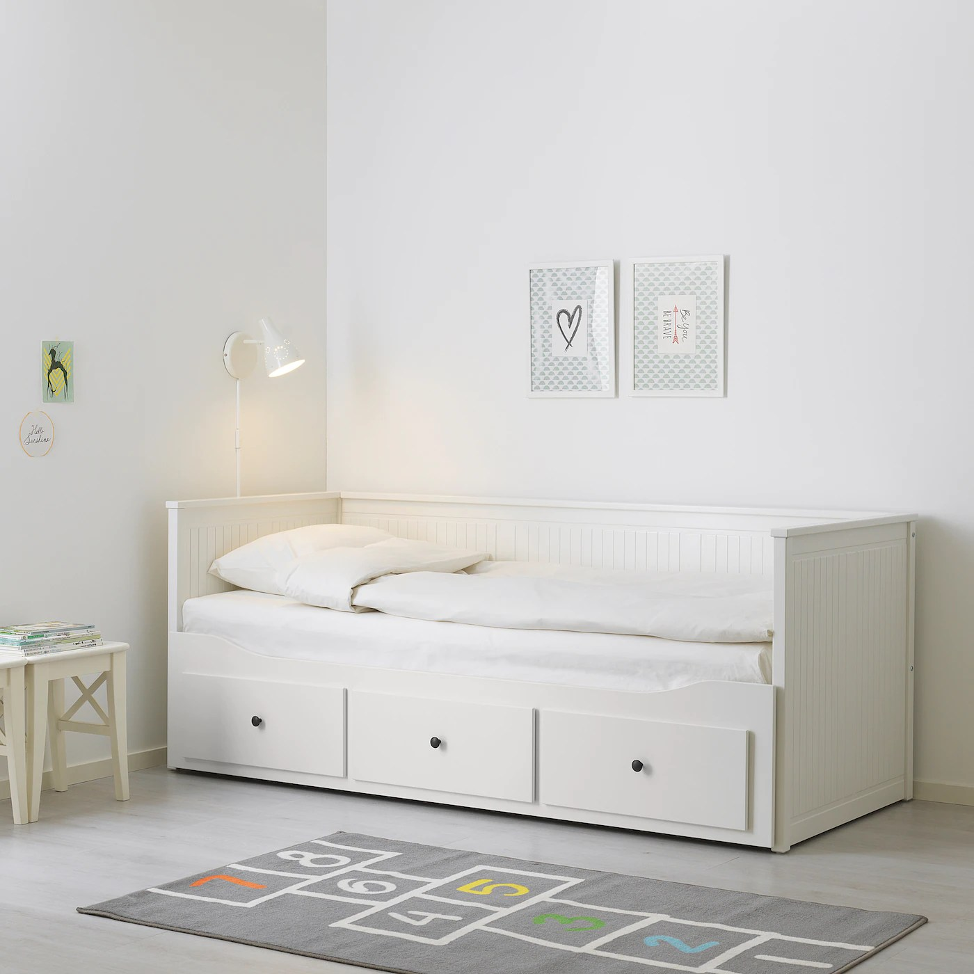 hemnes day bed frame with 3 drawers white 80x200 cm