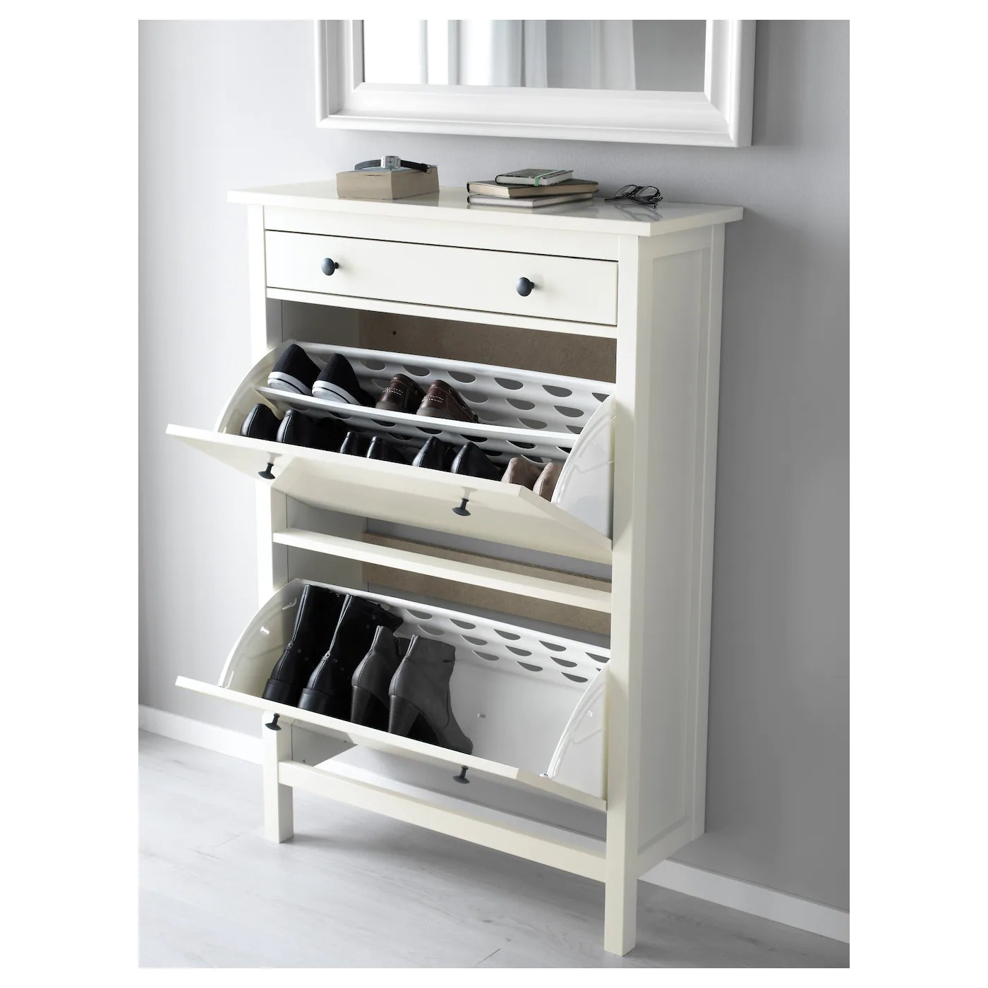 HEMNES Shoe Cabinet With 2 Compartments White 89 X 127 Cm