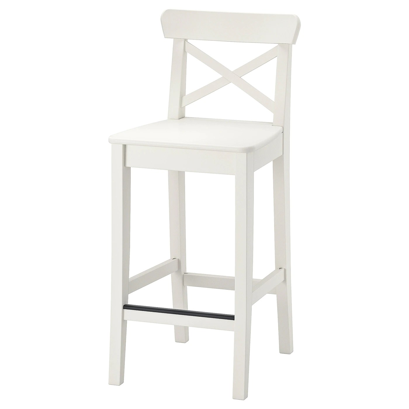 Ingolf White Bar Stool With Backrest 63 Cm Ikea