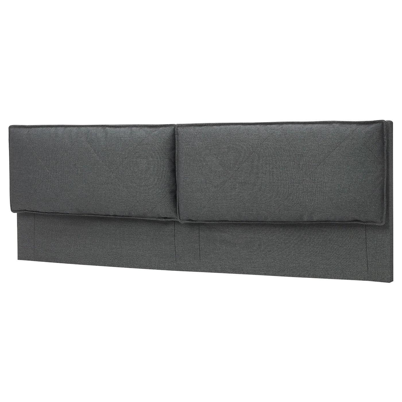malm headboard cover with 2 pillows idekulla dark grey standard king