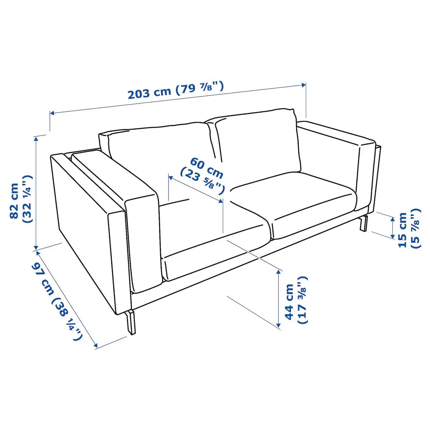 Nockeby Two Seat Sofa Lejde Dark Grey Chrome Plated