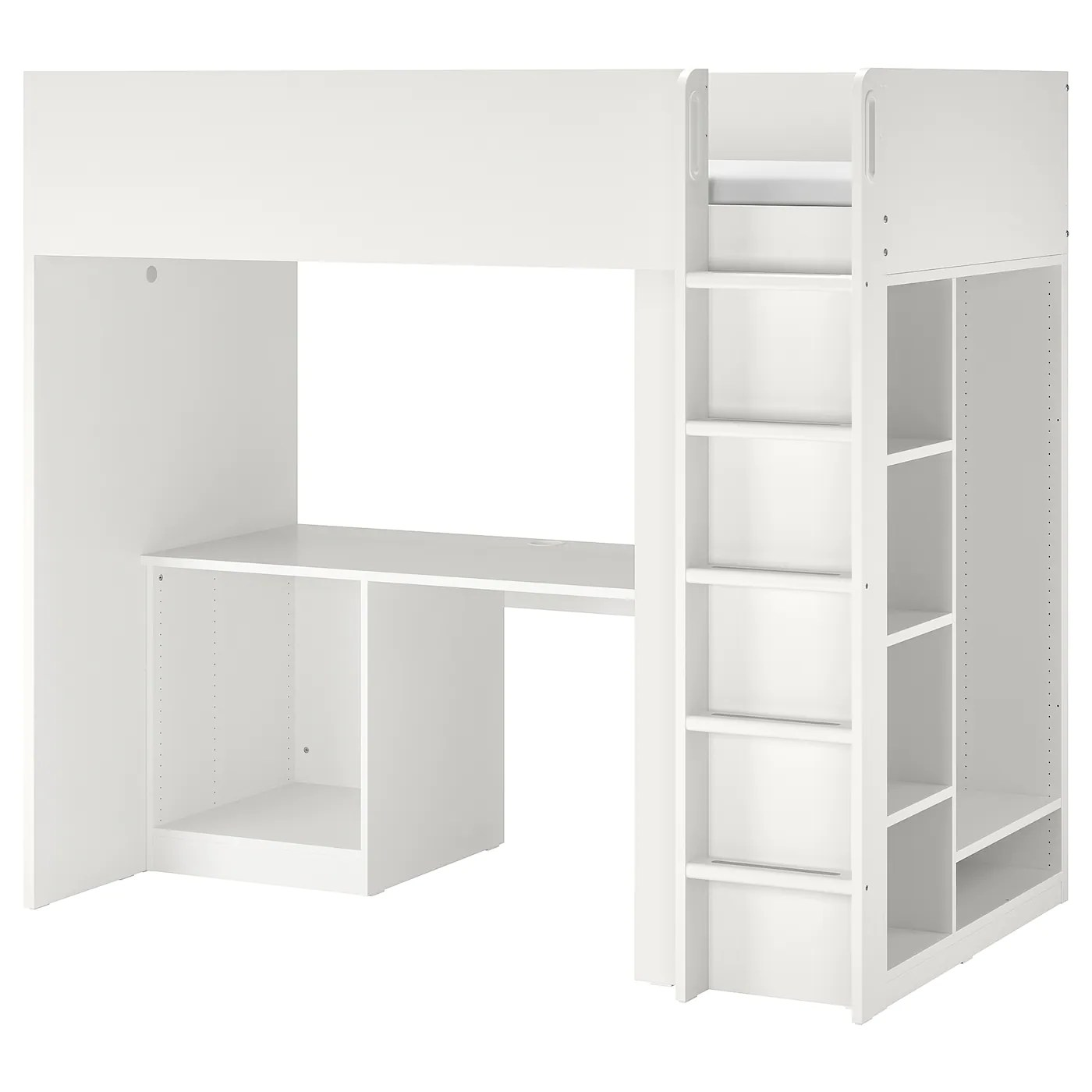 smastad loft bed frame w desk and storage white 90x200 cm