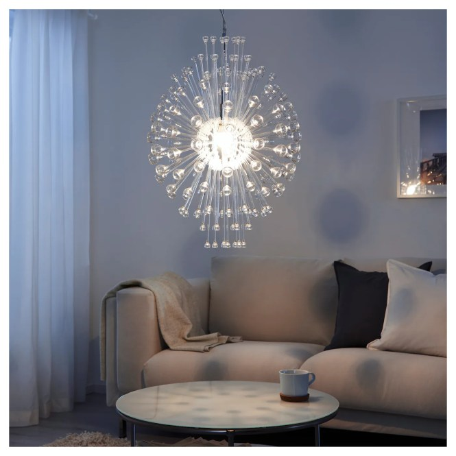 Ikea Stockholm Chandelier Gives Decorative Patterns On The Ceiling And Wall