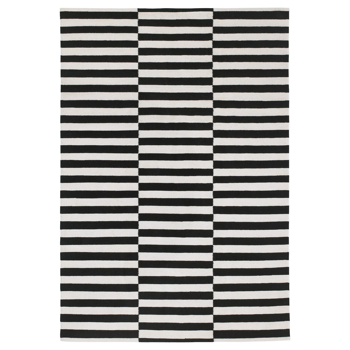Rug Flatwoven Stockholm Black Handmade Striped Off White Striped Black Off White