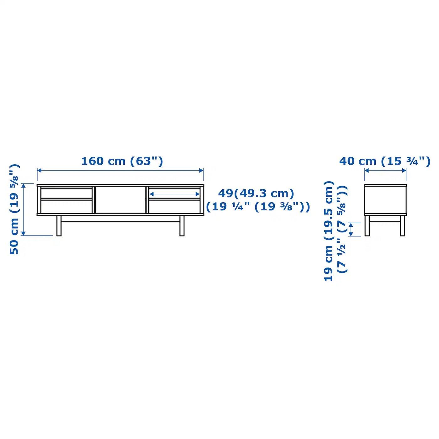 stockholm tv bench walnut veneer 160x40x50 cm