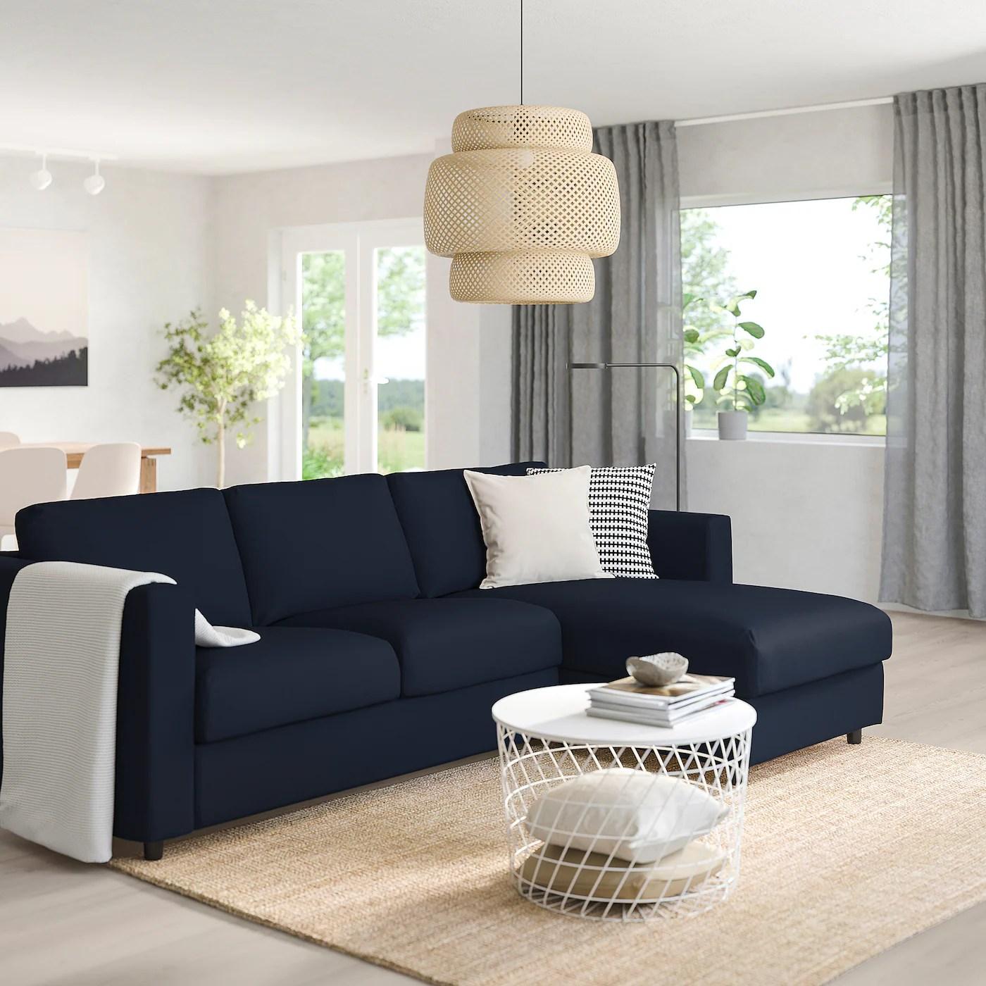 vimle 3 seat sofa with chaise longue grasbo black blue