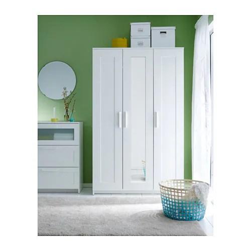 BRIMNES Wardrobe With 3 Doors White 117x190 Cm IKEA