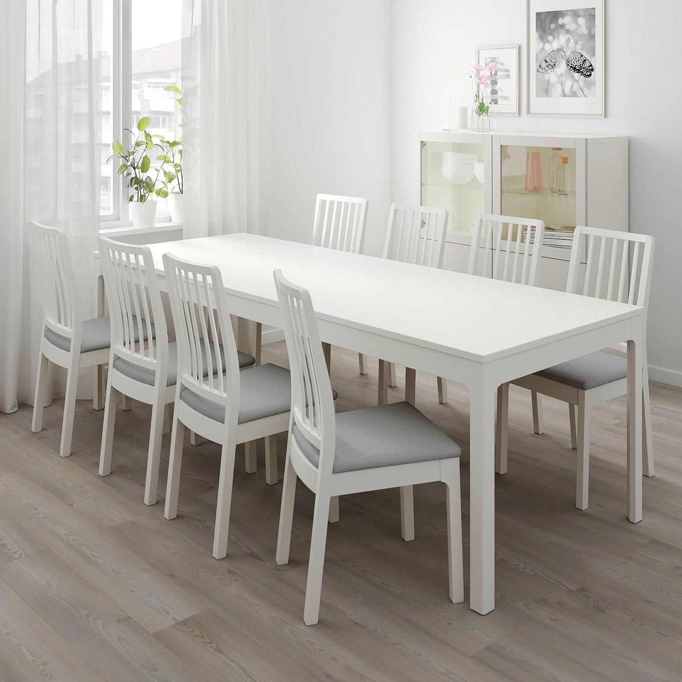 Ekedalen Ekedalen Table And 6 Chairs White Ramna Light Grey Ikea Ireland