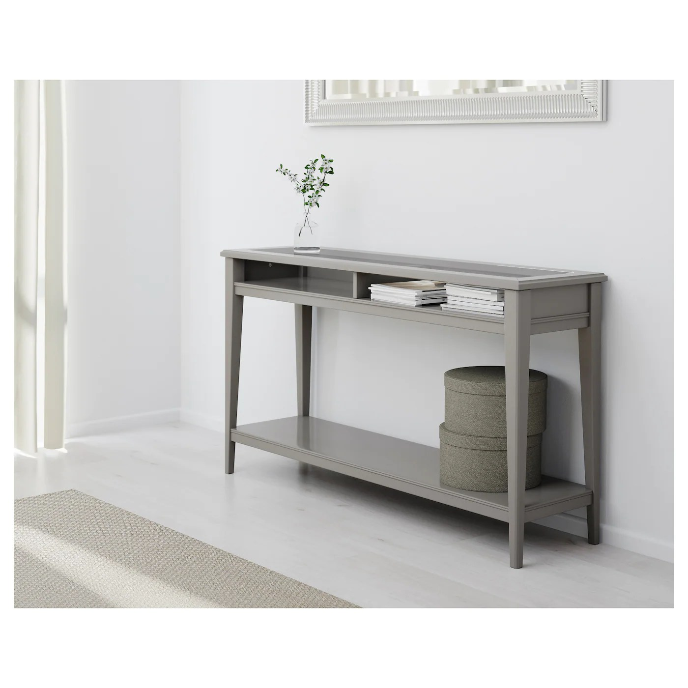 liatorp console table grey glass 133x37 cm