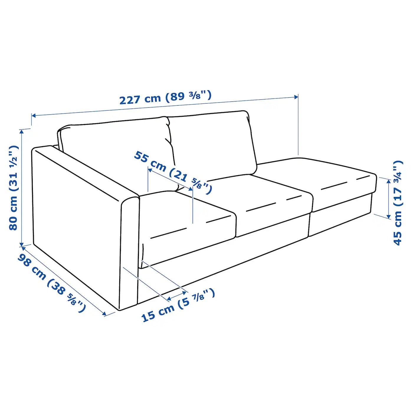 Vimle 3 Seat Sofa With Open End Farsta Dark Brown