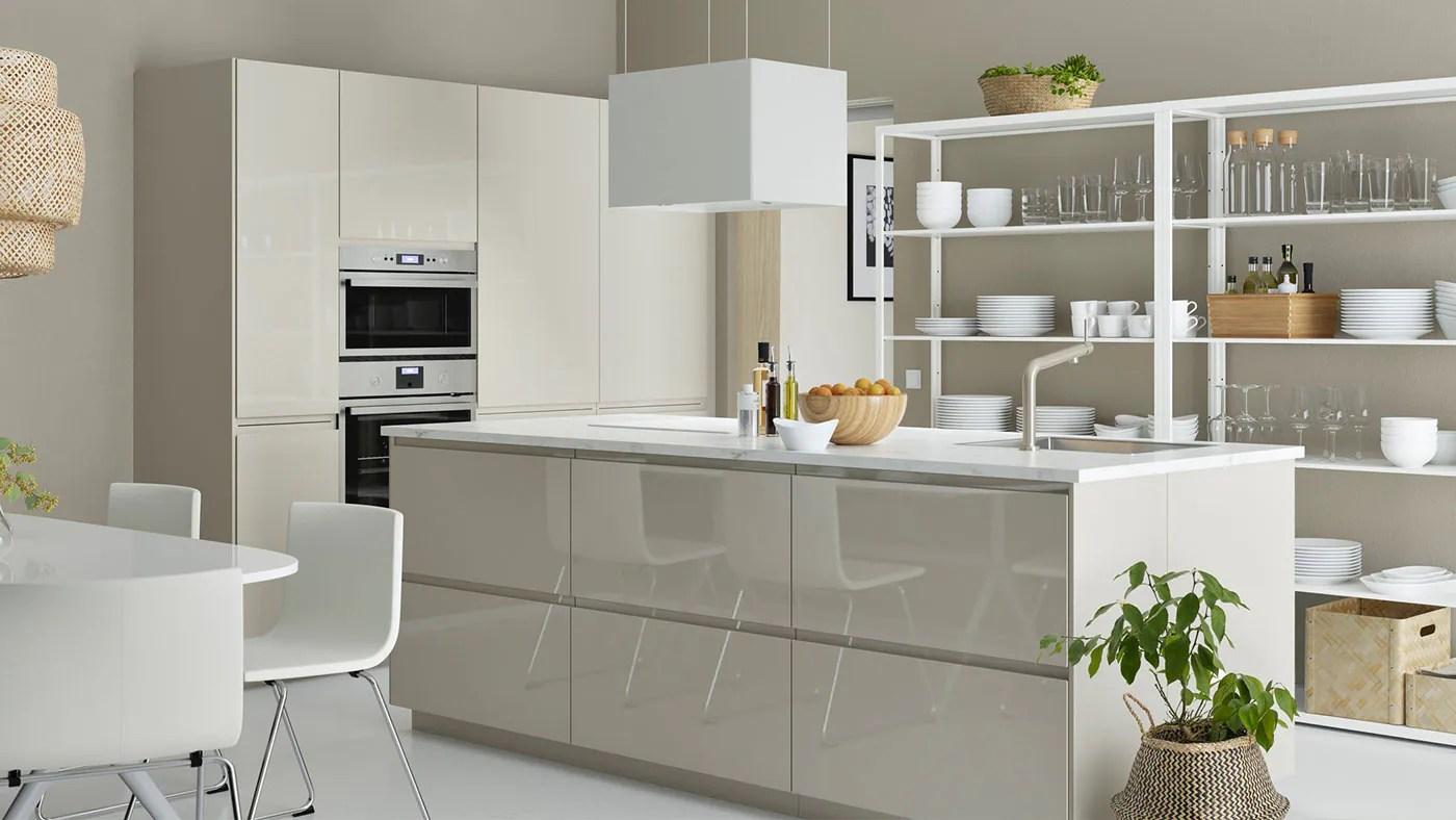 Voxtorp High Gloss Light Beige Kitchen Ikea Ireland