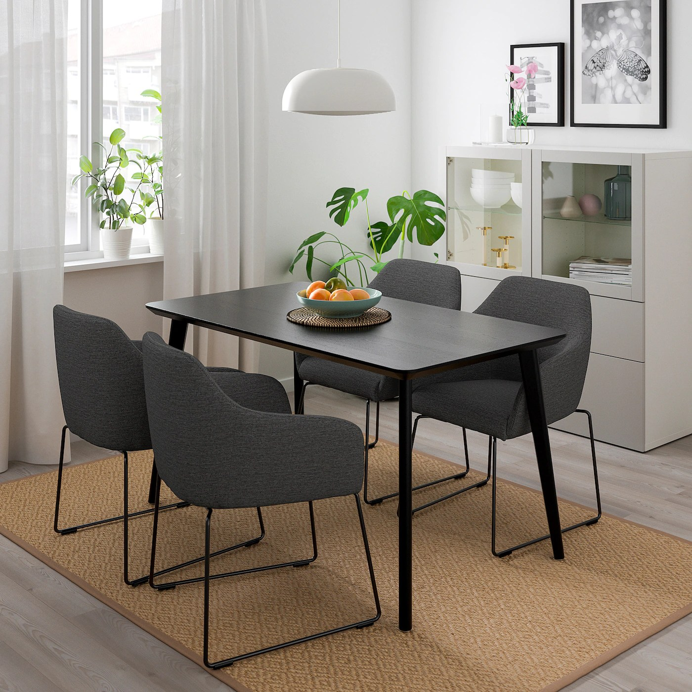 Lisabo Tossberg Table And 4 Chairs Black Metal Grey Ikea