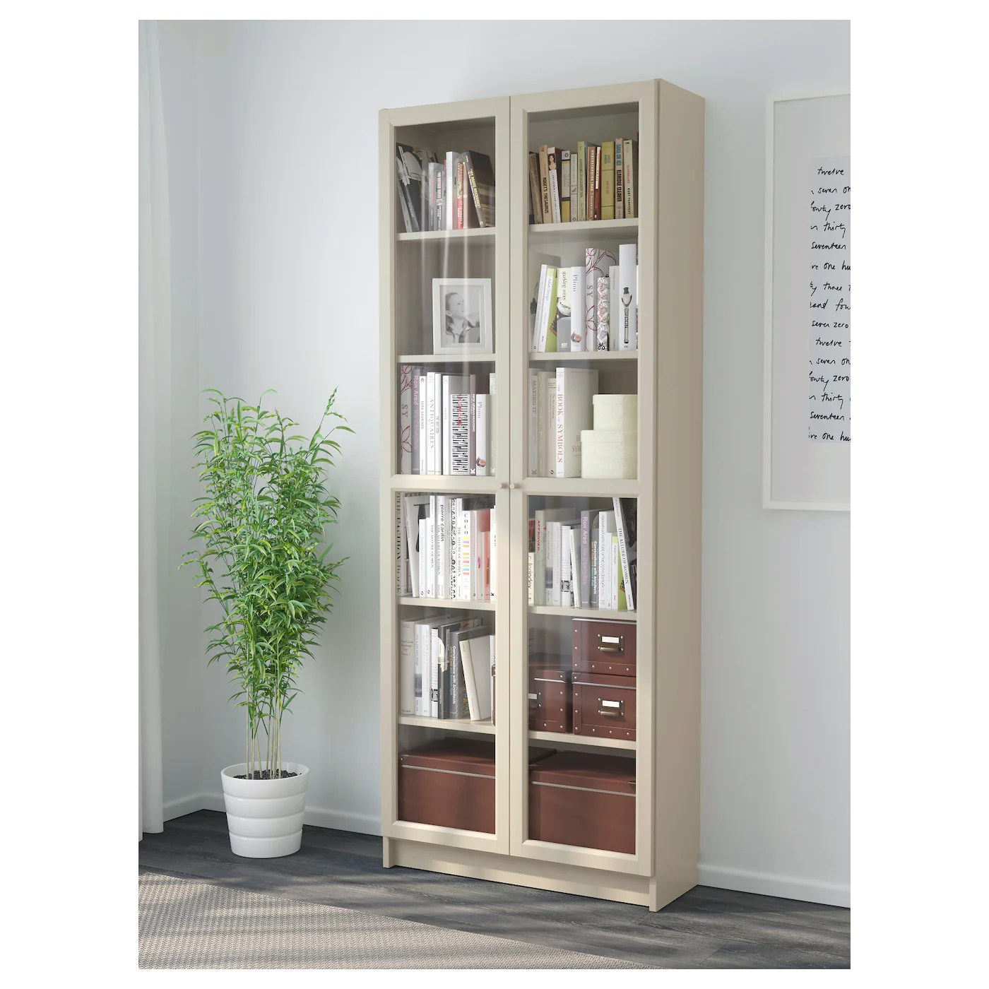 Billy Bookcase With Glass Doors Beige