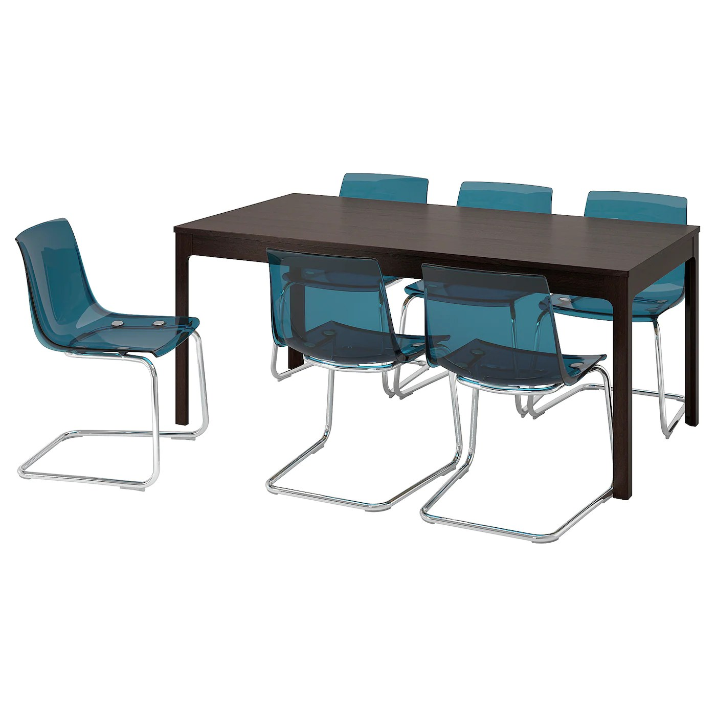 ekedalen tobias table and 6 chairs dark brown blue 180 240 cm