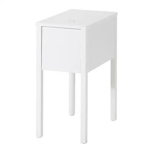 NORDLI ベッドサイドテーブル ワイヤレス充電機能付き IKEA 充電器にはUSBポートもあるので、一度に2つのデバイスを充電できます 引き出し内には取り外し可能なインサートが付いているので、小物をすっきり整理できます