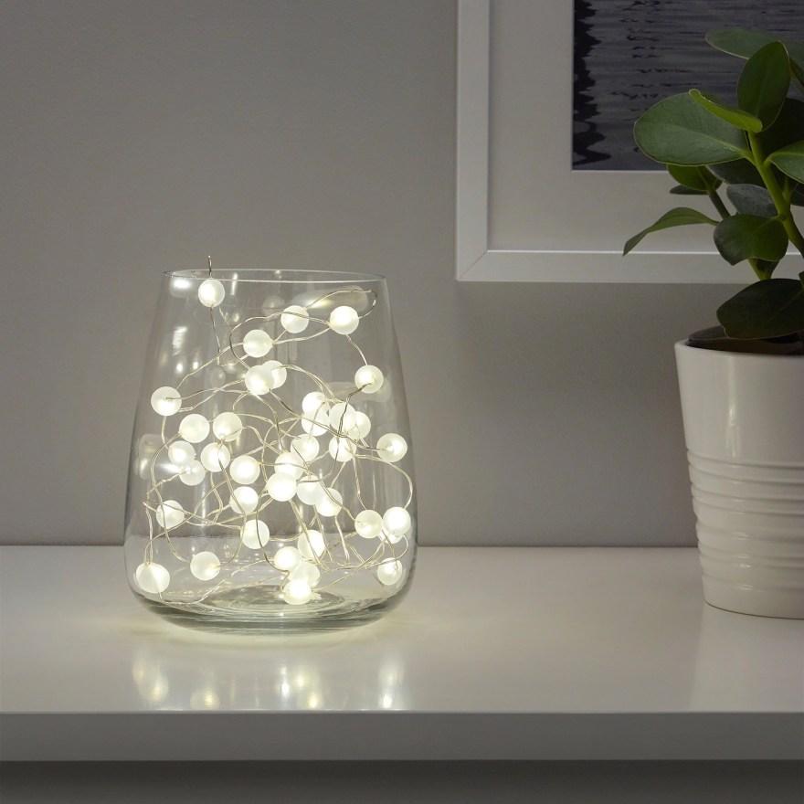 SNÖYRA スノィラ LEDライトチェーン 全40球, 室内用/電池式 シルバーカラー