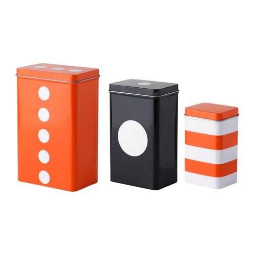 TRIPP 缶 ふた付き 3個セット, オレンジ, ブラック