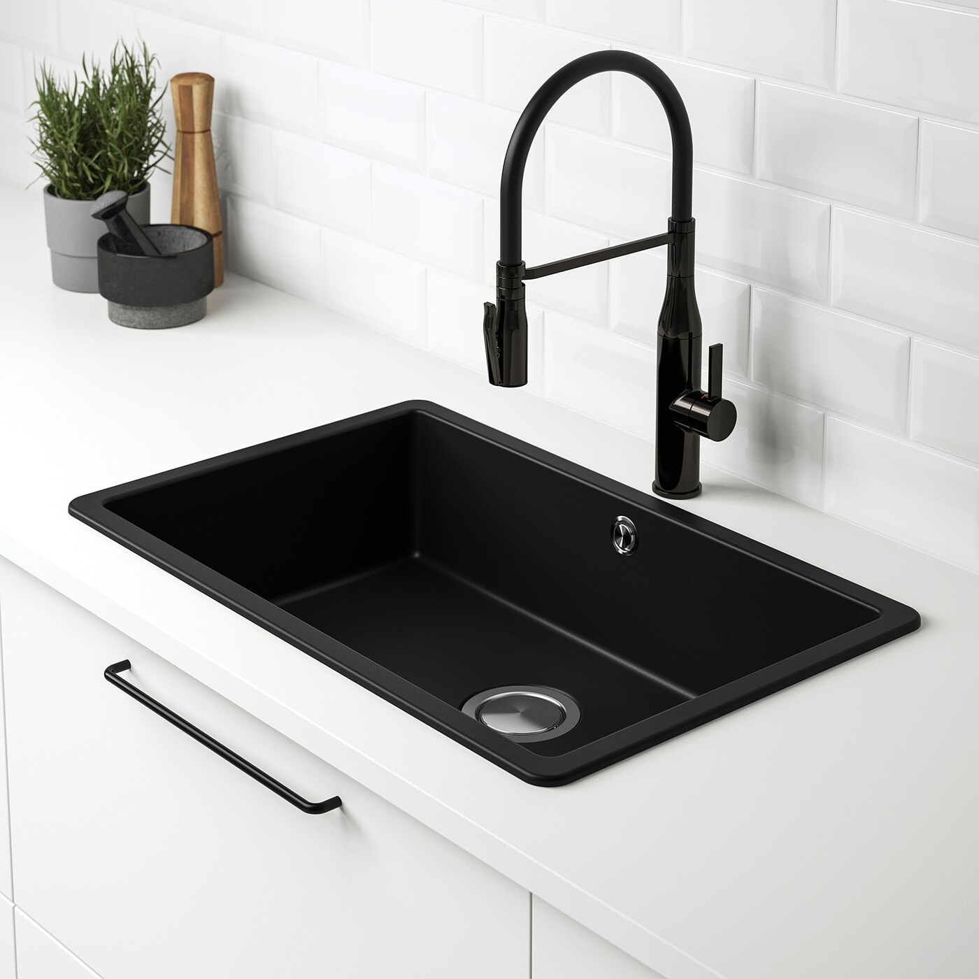 kilsviken inset sink 1 bowl black quartz composite 72x46 cm