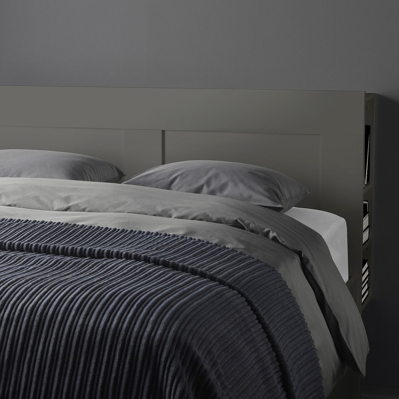 brimnes bed frame w storage and headboard grey luroy king