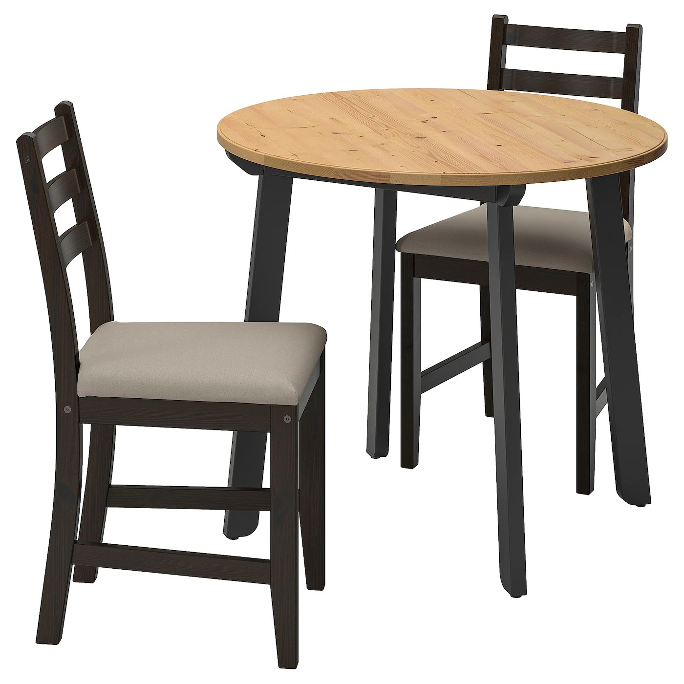 Gamlared Lerhamn Table And 2 Chairs Light Antique Stain Black Brown Vittaryd Beige Ikea