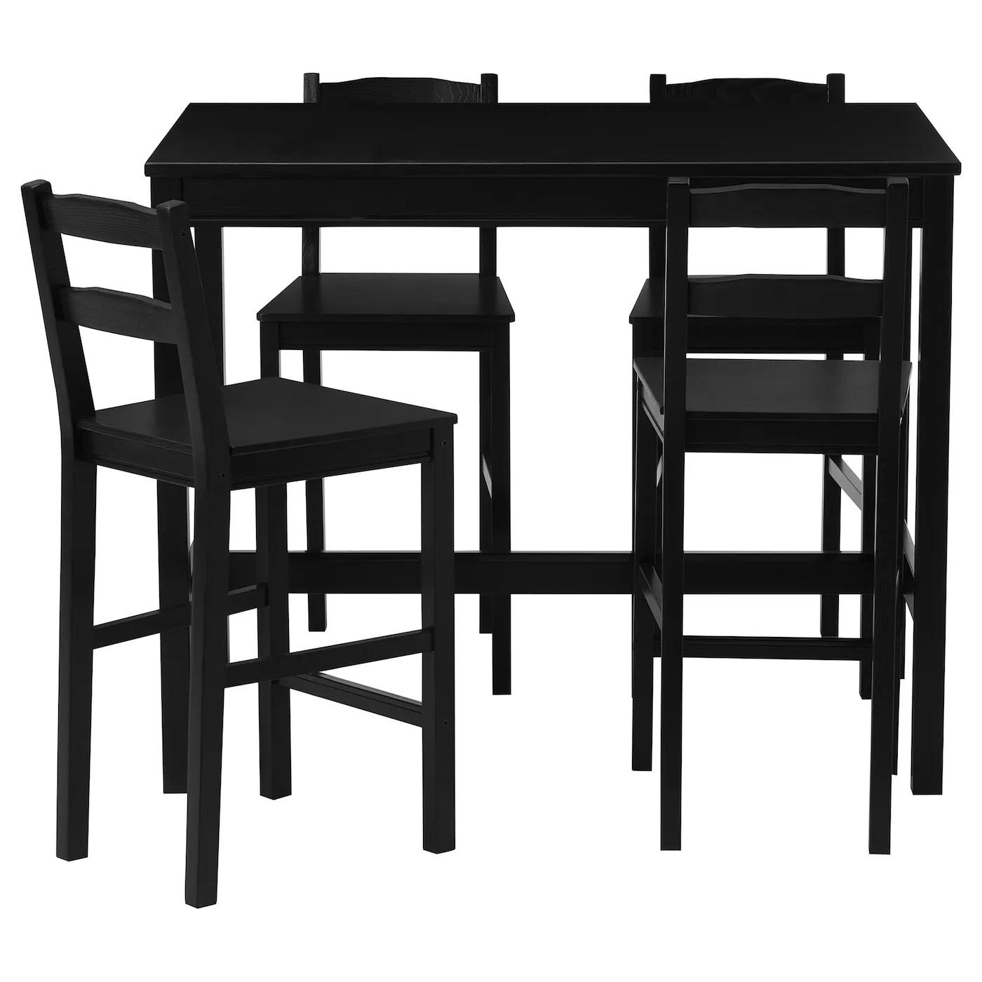 jokkmokk bar table and 4 bar stools black brown