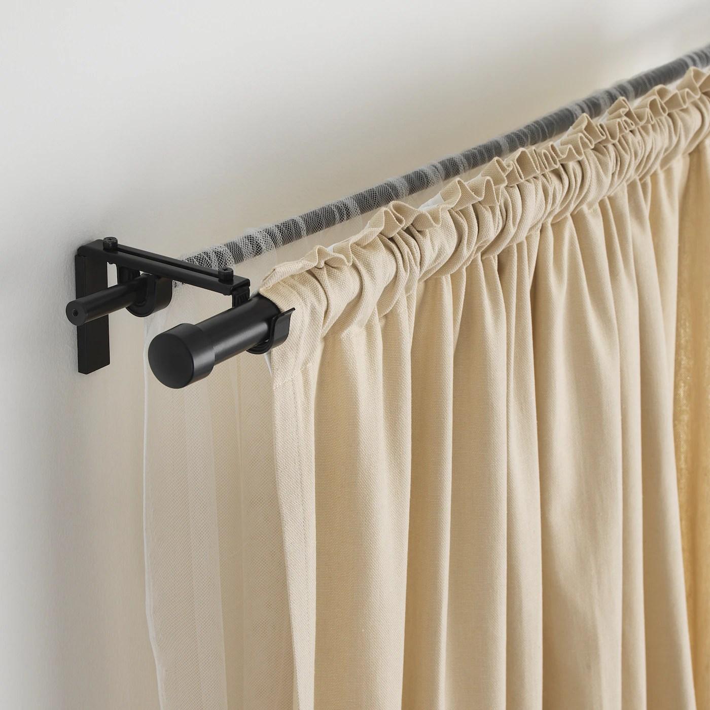 racka hugad double curtain rod combination black 120 210 cm