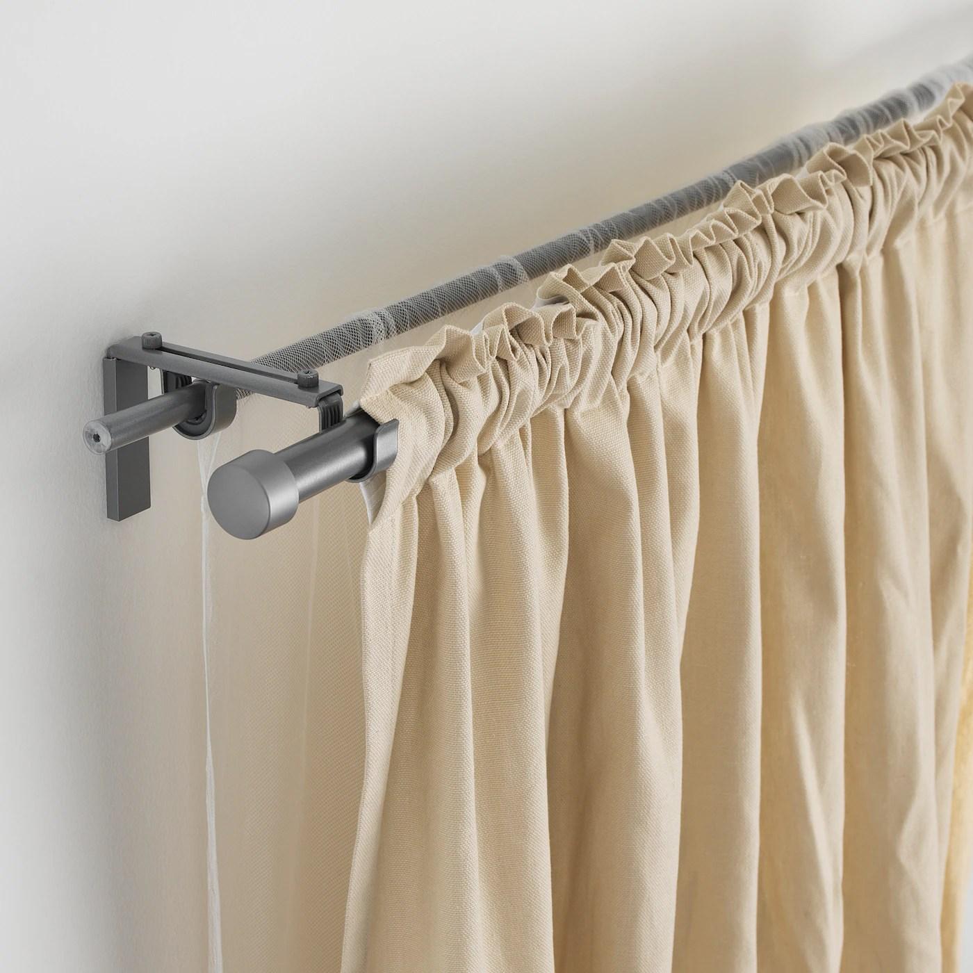 racka hugad double curtain rod combination silver colour 120 210 cm