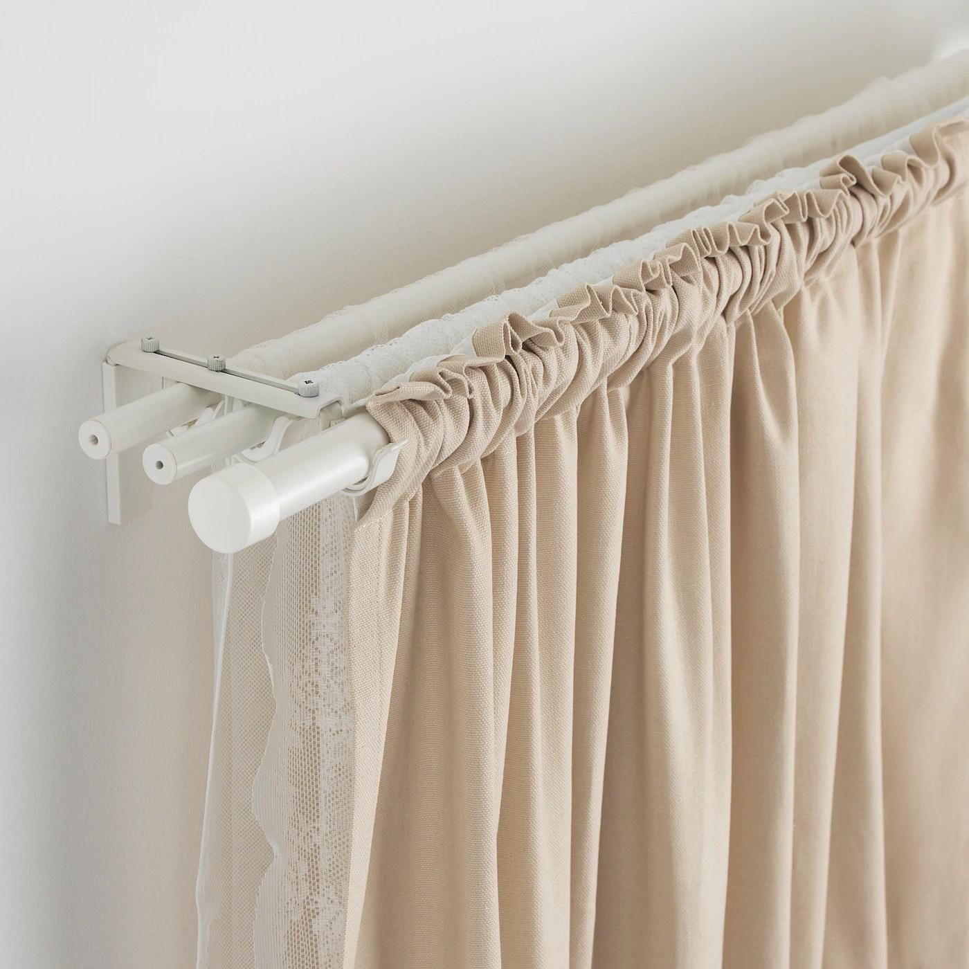 racka hugad triple curtain rod combination white 120 210 cm