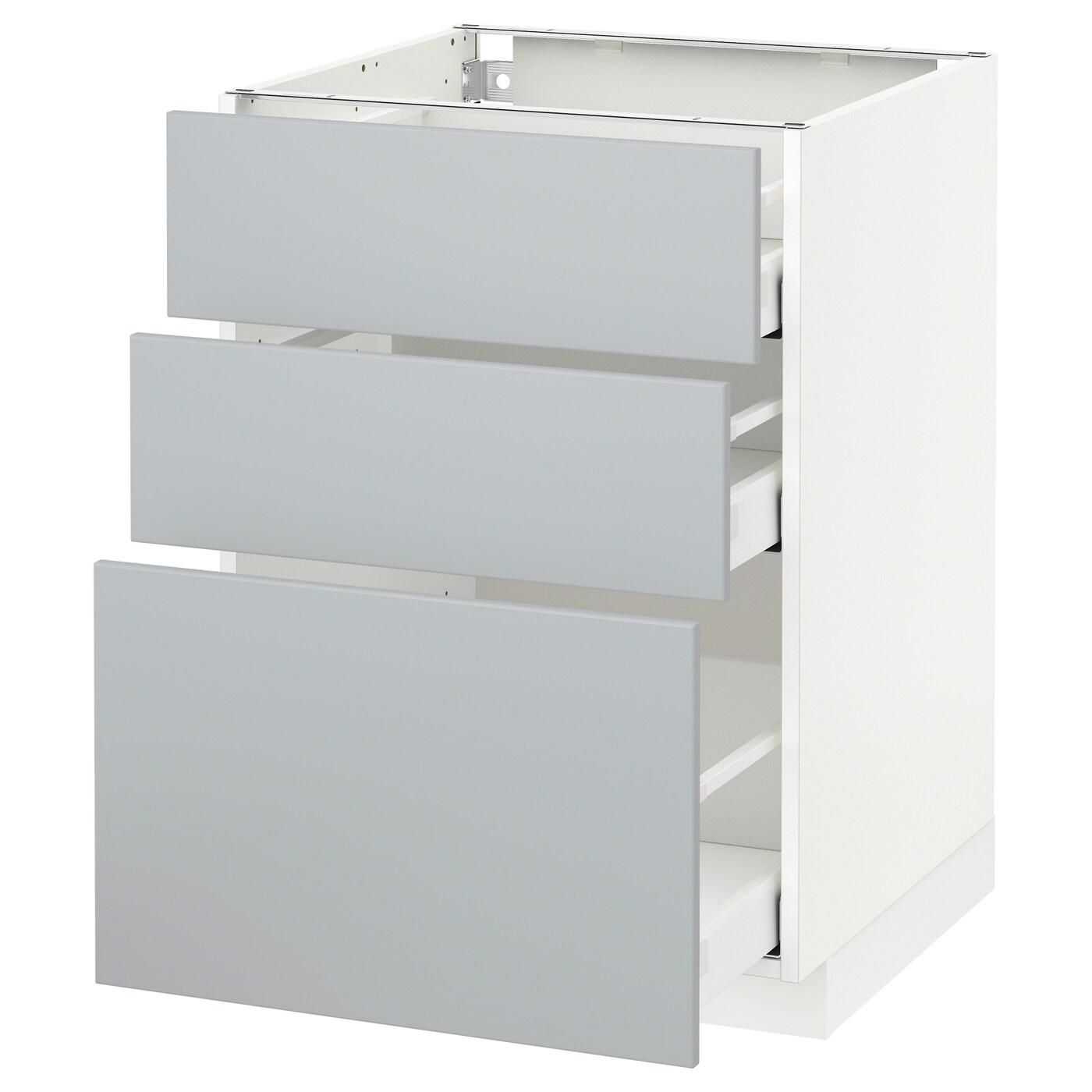 metod maximera base cabinet with 3 drawers white veddinge grey 60x60 cm