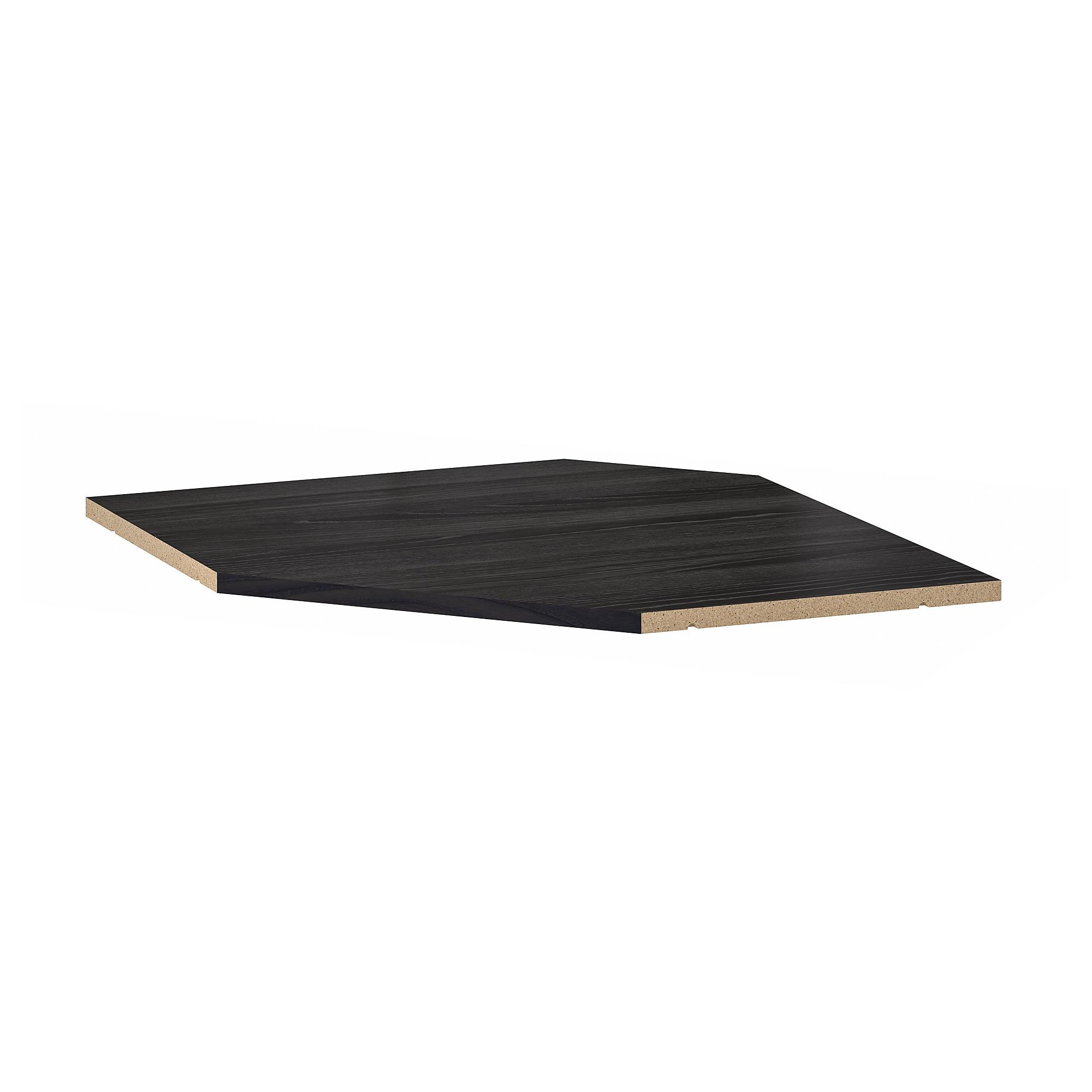 utrusta tablette element mural d angle effet bois noir 68 cm