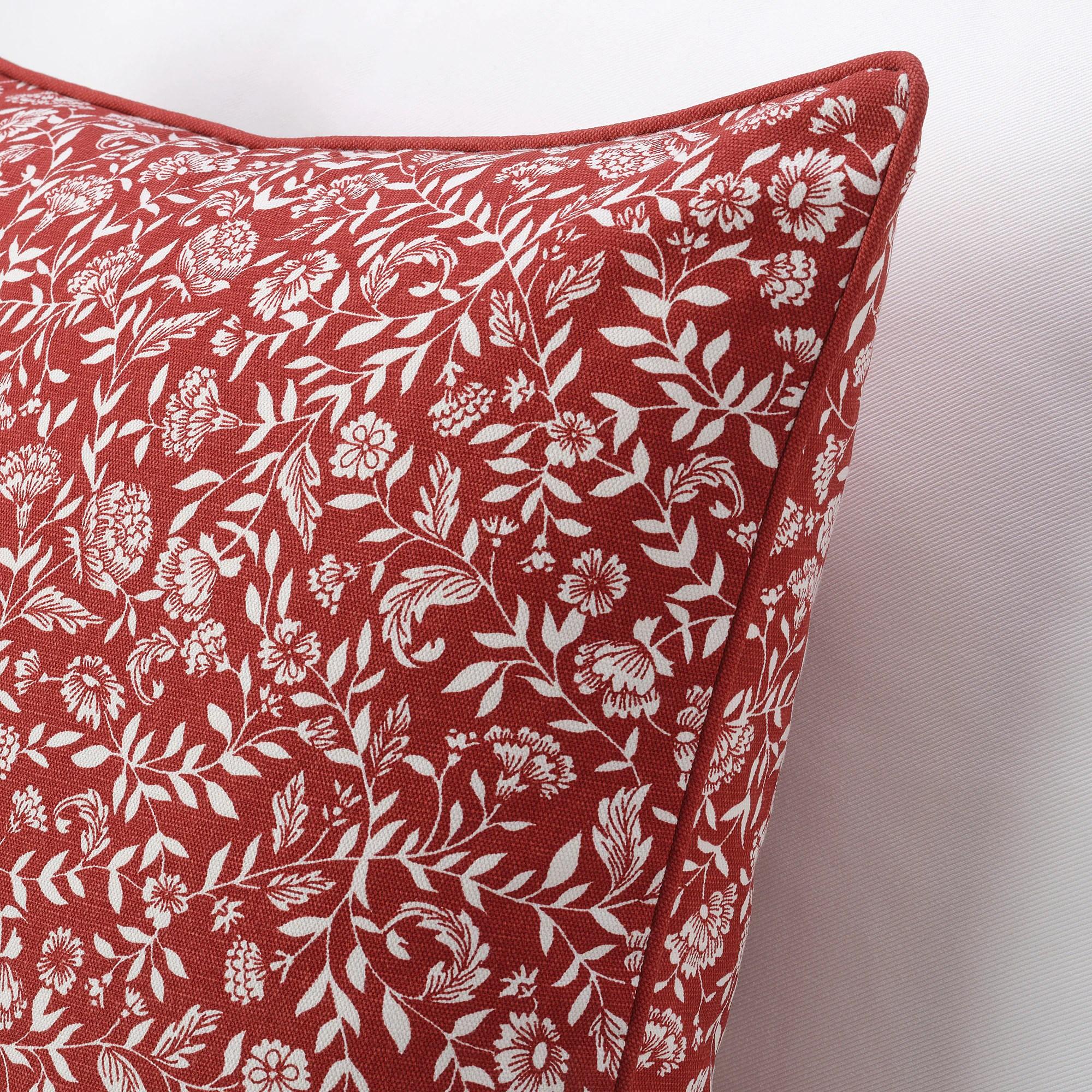 evalouise housse de coussin rouge blanc a motif floral 50x50 cm