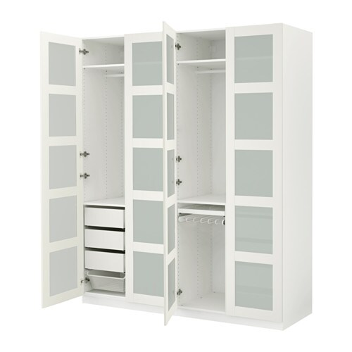 Pax Wardrobe White Bergsbo Frosted Glass