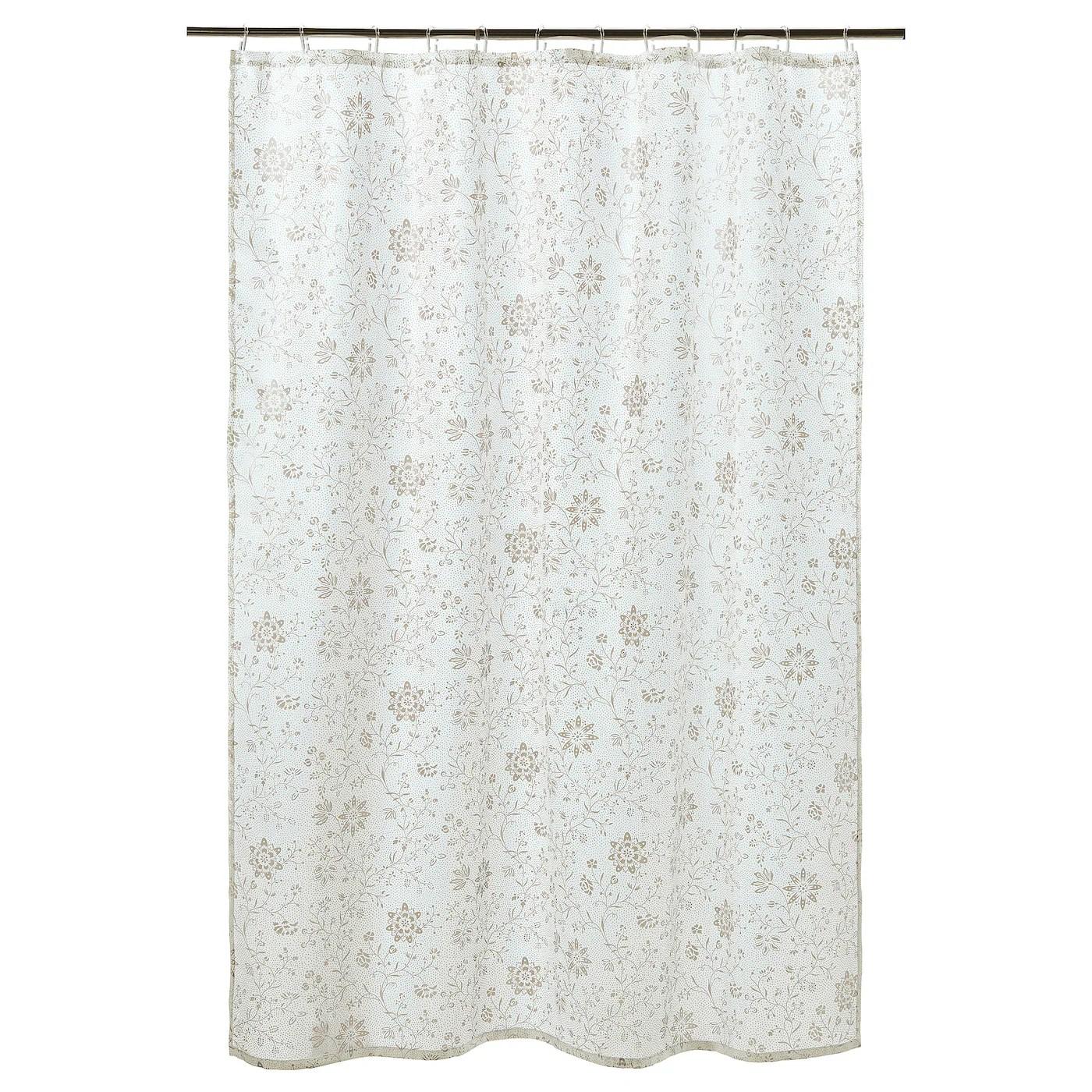 tyckeln shower curtain white dark beige 180x200 cm
