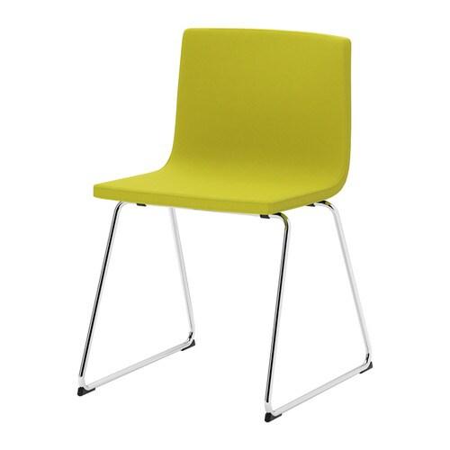 "BERNHARD Chair, chrome plated, Kavat green-yellow Width: 17 3/4 "" Depth: 19 5/8 "" Height: 30 3/8 "" Seat width: 17 3/4 "" Seat depth: 15 3/4 "" Seat height: 18 7/8 ""  Width: 45 cm Depth: 50 cm Height: 77 cm Seat width: 45 cm Seat depth: 40 cm Seat height: 48 cm"