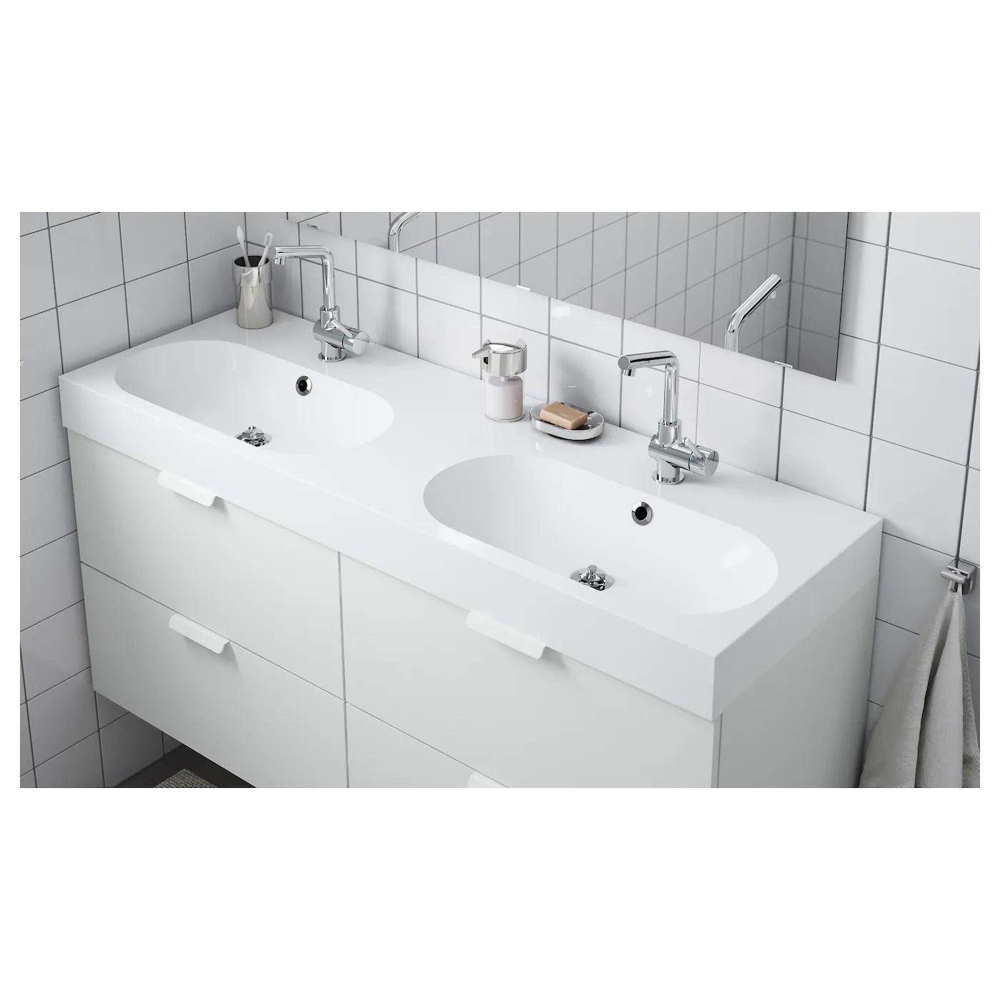braviken double bowl sink white 55 1 8x18 7 8x3 7 8