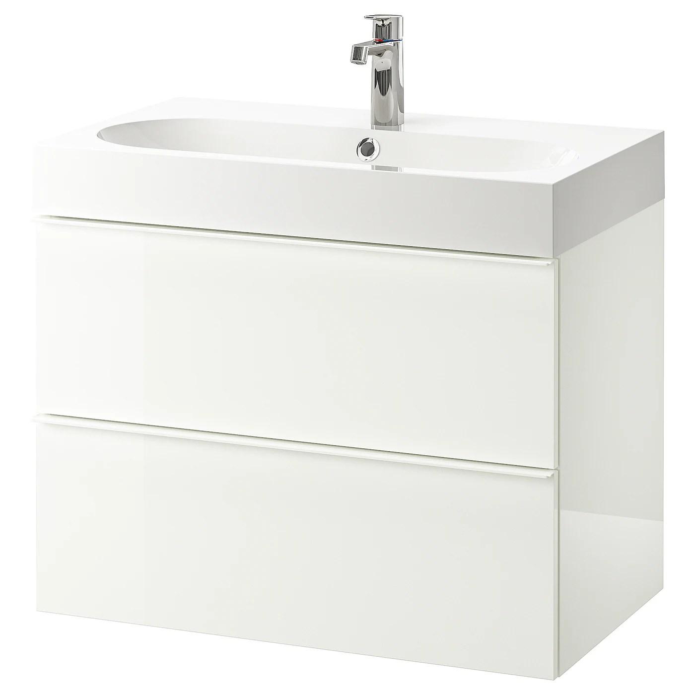 godmorgon braviken sink cabinet with 2 drawers high gloss white brogrund faucet 31 1 2x18 7 8x26 3 4