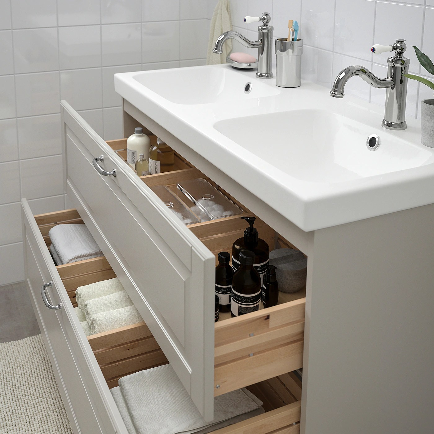 godmorgon odensvik sink cabinet with 2 drawers kasjon light gray hamnskar faucet 40 1 2x19 1 4x25 1 4