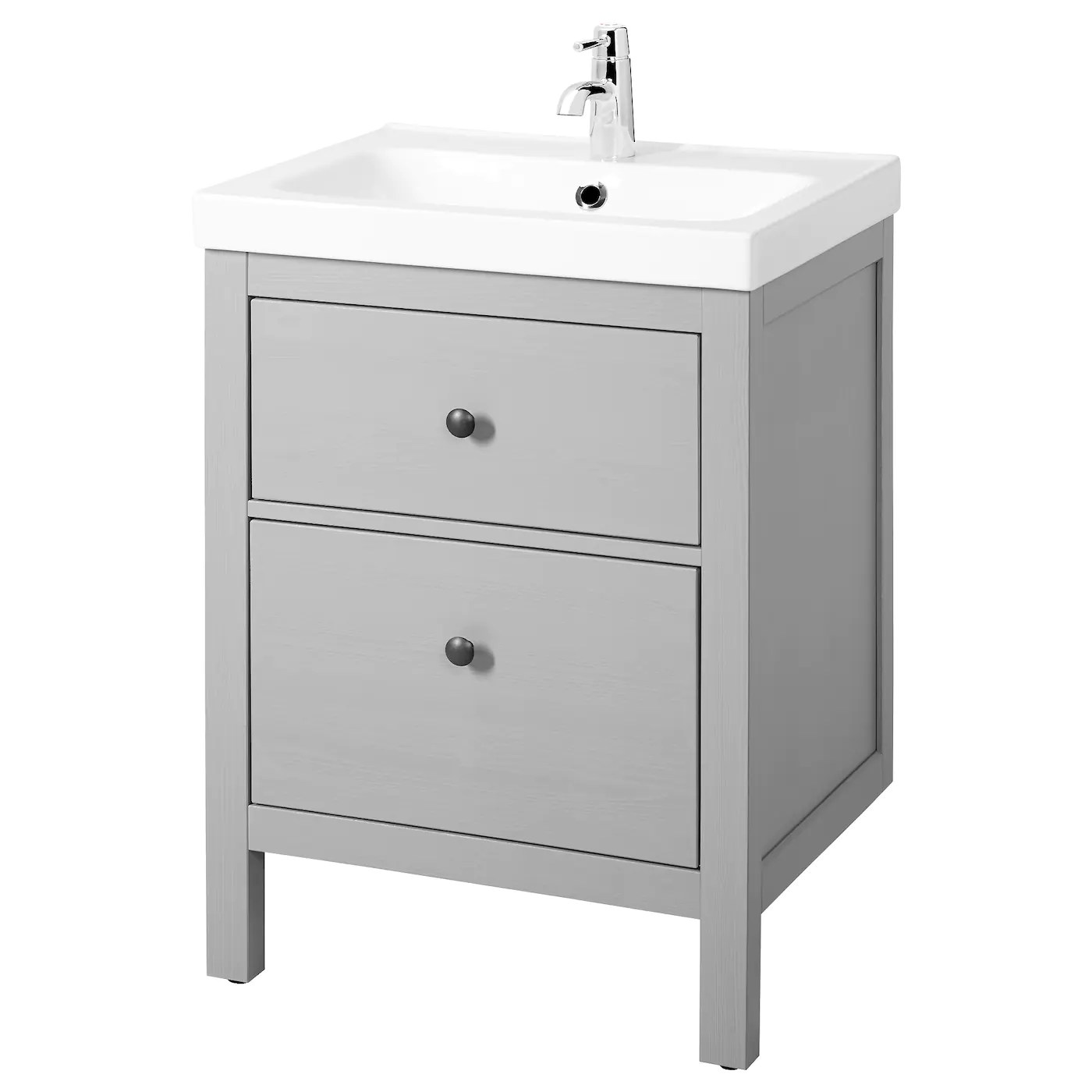 hemnes odensvik sink cabinet with 2 drawers gray 24 3 4x19 1 4x35