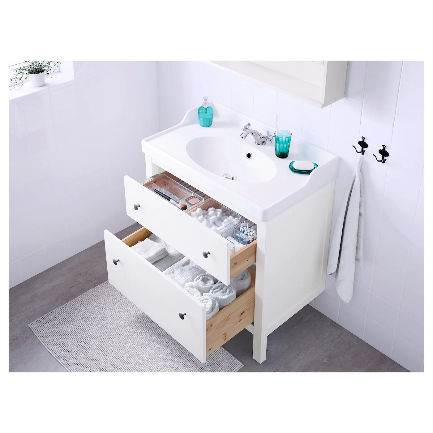 hemnes sink cabinet with 2 drawers white 31 1 2x18 1 2x32 5 8