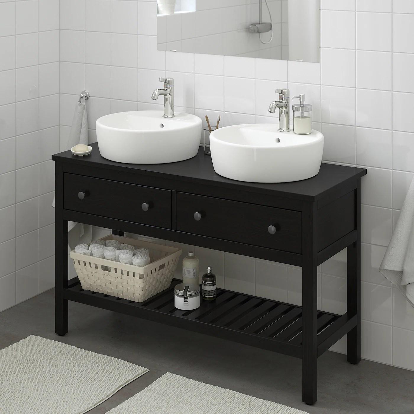 hemnes tornviken open sink cabinet with 17 sink black brown stained voxnan faucet 48x18 7 8x35 3 8
